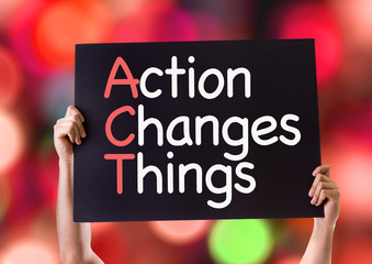 Action Changes Things card with bokeh background