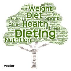 Vector conceptual health or diet tree word cloud