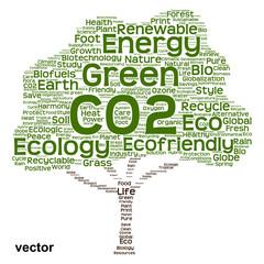 Vector conceptual green ecology tree word cloud