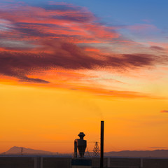 Industrial chimney at sunrise in Paterna Spain