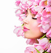 Beauty Spring Girl with Flowers Hair Style.  Spring Flower. Pink