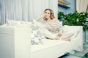 sitting on sofa