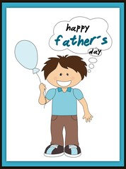Happy father´s day card with smiling boy and balloon