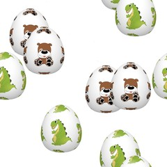 Easter eggs seamless pattern on white