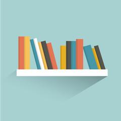Book shelf. Flat design. Vector.