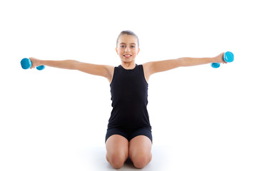 Fitness dumbbells kid girl exercise workout