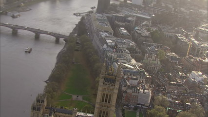 Panoramic aerial view above the city of London and the river thames.