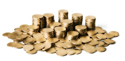 Coin. Piles of coins.