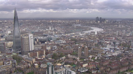 Panoramic aerial view above the city of London and the river thames
