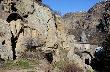 View of Geghard rock monastery with ancient khachkars ,Armenia