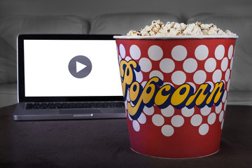 Movie online with popcorn at home