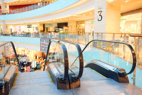 The image of empty escalator in shopping center - 80538514