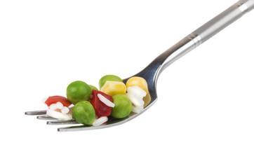 Vegetable mix on fork