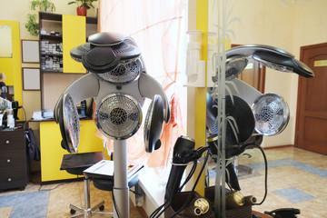 Modern professional equipment in hairdresser salon.