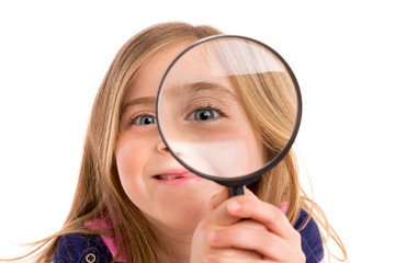 Blond indented girl with eye in magnifying glass
