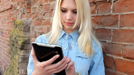 Image of beautiful blond young lady using tablet pc at red brick