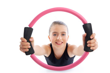 Fitness pilates yoga ring kid girl exercise workout