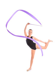 Kid girl ribbon rhythmic gymnastics exercise