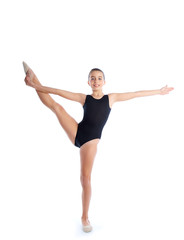 Kid girl rhythmic gymnastics exercises on white