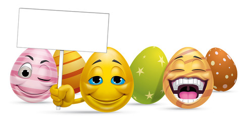 Group of Easter eggs characters and blank sign
