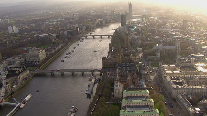 Panoramic aerial view over the River Thames and the city of London