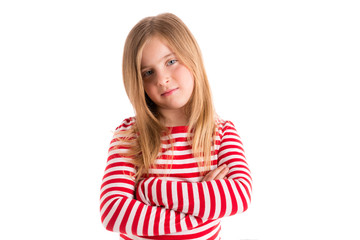 Blond kid girl sad serious gesture expression