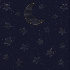 embroidered with gold stars and the moon