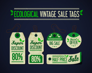 Ecological vintage sale tags collection, set. Price tag.