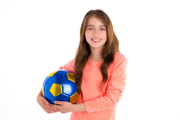 Football soccer kid girl happy player with ball