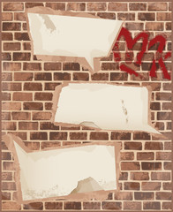 Speech bubble on brick wall texture