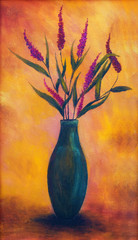 Flowers in a vase, dryed up, on bright orange background, color