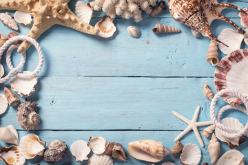 Sea shells border over blue wood background