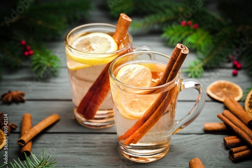 Hot. Two hot  whiskey, rum, apple or brandy toddy cocktail - 80542134