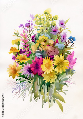 Obraz Bouquet of colorful wildflowers