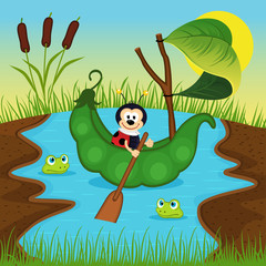 ladybug  floats on peas on river - vector illustration, eps