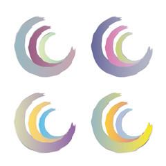 Dreiviertelkreise in Pastellfarben