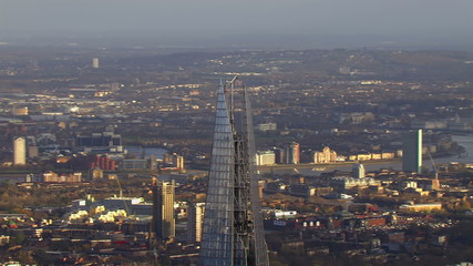 Panoramic aerial view over London on a bright day