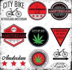 Amsterdam Netherlands graphic vector set