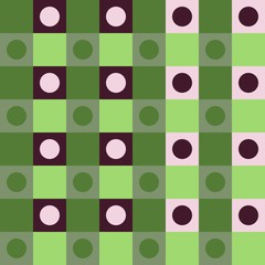 Abstract brown green polka dot op art background