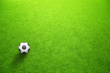 Sunny artificial green grass with soccer ball