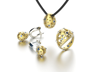 collection with Ring and earring  with diamond. Jewelry backgrou