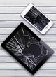 Leinwanddruck Bild - Modern mobile phone and Black Touch Screen Tablet with broken sc