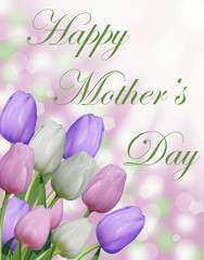 Happy Mother's day pink purple and white tulips abstract bokeh