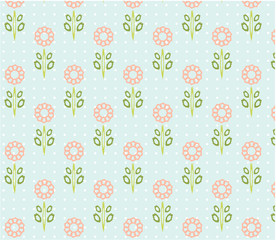 Vintage natural, seamless patterns with pink flowers with green