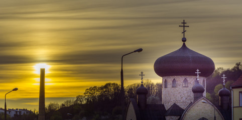 Orthodox church at sunset