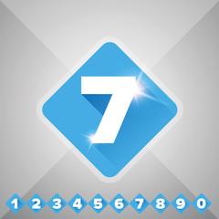 Number vector set blue - flat design