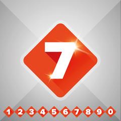 Number vector set orange - flat design