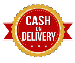 Cash on delivery  label, sticker or stamp