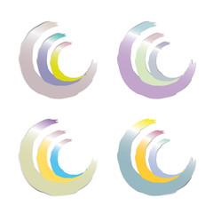 Dreiviertelkreise in Pastellfarben mit Glanz