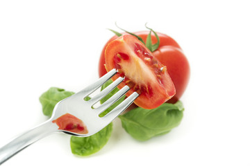 tomatoes and fork